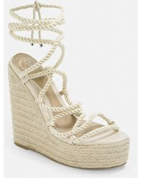 Missguided Beige Rope Lace Jute Wedges - Natural