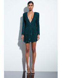 Missguided - Peace + Love Teal Drape Sequin Dress - Lyst