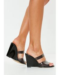 Missguided - Black Smoked Clear Wedge Mule - Lyst