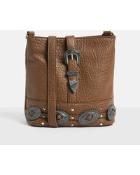 Missguided - Brown Faux Leather Western Buckle Detail Cross Body Bag - Lyst
