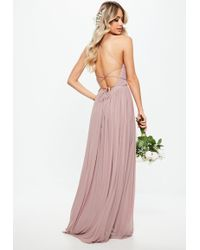 Missguided - Bridesmaid Pink Pleated Mesh Maxi Dress - Lyst