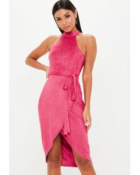 Missguided - Hot Pink High Neck Suede Tie Midi Dress - Lyst