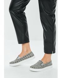 Missguided - Grey Studded Plaid Slip On Trainers - Lyst