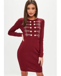 Missguided - Wine Button Front Knitted Dress - Lyst