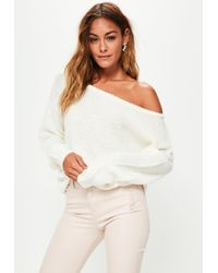 Missguided - Cream Off Shoulder Knitted Sweater - Lyst