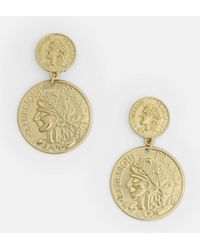 Missguided - Gold Look Two Coin Drop Earrings - Lyst