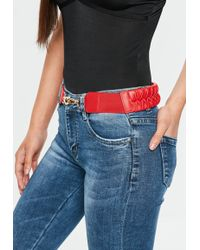 Missguided - Red Plait Detail Belt - Lyst