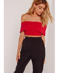 Missguided - Crepe Bardot Crop Top Red - Lyst