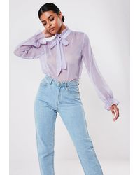 Missguided Lilac Polka Dot Pussy Bow Blouse - Purple