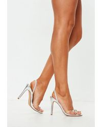 Missguided - Silver Diamante Clear Slingback Heel Sandals - Lyst