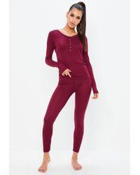 Missguided - Burgundy Long Sleeve Ribbed Pyjama Set - Lyst
