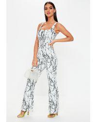 8f32318b5b77 Lyst - Missguided White Stripe Bandeau Flare Leg Jumpsuit in White
