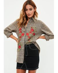 Missguided | Brown Checked Embroidered Shirt | Lyst