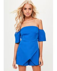 721124d2fe Missguided Lesaka Scuba Plunge Playsuit In Powder Blue in Blue - Lyst