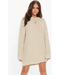 Missguided - Stone Oversized Chunky Knitted Dress - Lyst