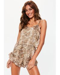 Missguided - Brown Snake Print Satin Cami And Shorts Pajamas Set - Lyst