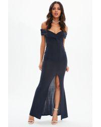 Missguided - Navy Bardot Wrap Split Maxi Dress - Lyst