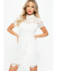 Missguided - Tall White Short Sleeve Layered Lace Dress - Lyst