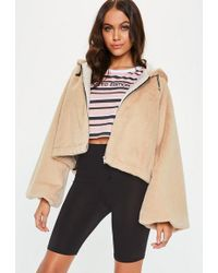 8319ea3376fd5f Missguided Mila Collarless Faux Fur Sleeve Tailored Coat Cream in ...