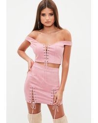 Missguided - Pink Faux Suede Lace Up Top - Lyst