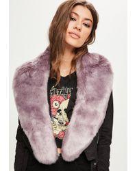 Missguided - Grey Faux Fur Scarf - Lyst