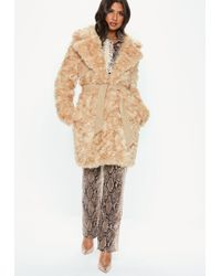 979d53251d82 Missguided Kimberley Premium Waterfall Coat Camel in Natural - Lyst