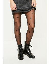 Missguided - Black Mini Cross Pantyhose - Lyst