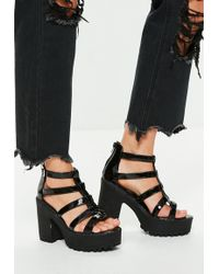 f82d562e6a9 Missguided - Black Cleated Sole Gladiator Platform Sandals - Lyst
