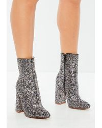 Missguided - Grey Glitter Flared Heel Ankle Boots - Lyst