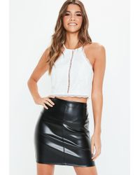 37f04c0100fb81 Missguided White Lace Trim Gathered Hem Crop Top in White - Lyst