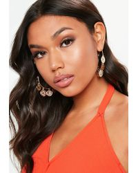Missguided - Gold Look Coin Drop Hoop - Lyst