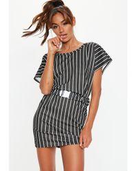 Missguided - Black Stripe Buckle Belt T Shirt Dress - Lyst