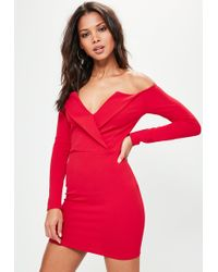 Missguided - Red Bardot Foldover Wrap Dress - Lyst