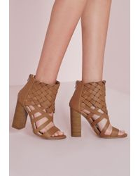 60b90047d355 Missguided Nude Jewel Drop Ankle Heeled Sandals in Natural - Lyst
