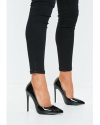 Missguided - Black Pu Pointed Toe Court Heels - Lyst