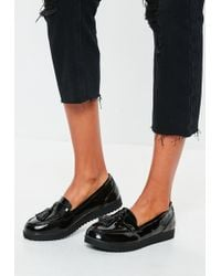 000f083e763dcb Missguided - Black Tassel Flat Loafers - Lyst