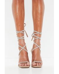 Missguided - Peace + Love Nude Diamante Lace Up Heeled Sandals - Lyst