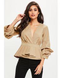Missguided - Brown Peplum Frill V Neck Shirt Top - Lyst