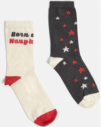 Missguided - Ivory 2 Pack Naughty List Christmas Socks - Lyst
