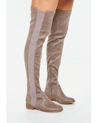c94775074ed Missguided Peace + Love Snake Print Thigh High Boots - Lyst