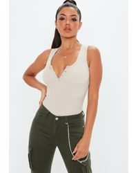 Missguided - Nude Button Front Sleeveless Ribbed Bodysuit - Lyst db177bfd1