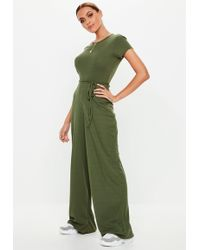 c23fb02a7f1 Missguided - Khaki Ribbed Short Sleeve Wide Leg Jumpsuit - Lyst