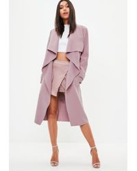 Missguided - Mauve Oversized Waterfall Duster Coat - Lyst