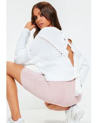 e4f21ff804 Missguided Chunky Lace Up Side Roll Neck Jumper White in White - Lyst