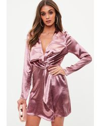 Missguided - Tall Pink Hammered Satin Twist Front Dress - Lyst
