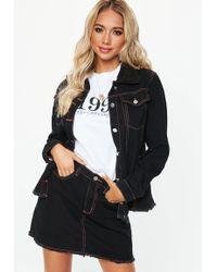 Missguided - Black Denim Contrast Stitch Skirt Co-ord - Lyst