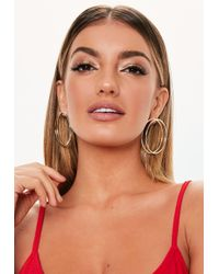 Missguided - Gold Look Double Circle Hoop Earrings - Lyst
