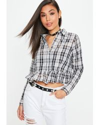 Missguided - Black Plaid Frill Hem Shirt - Lyst