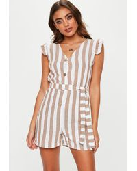 14110892cc4 Lyst - Missguided Green Stripe Wrap Bandeau Playsuit in Green