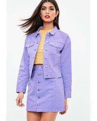 Missguided - Purple Regular Denim Jacket - Lyst
